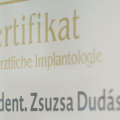 Implantologie Zertifikat Dr. med. dent. Zsuzsa Dudás