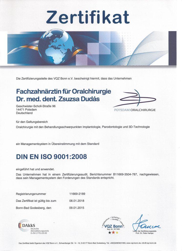 Zertifizierung DIN EN ISO 9001 - Potsdam Oralchirurgie